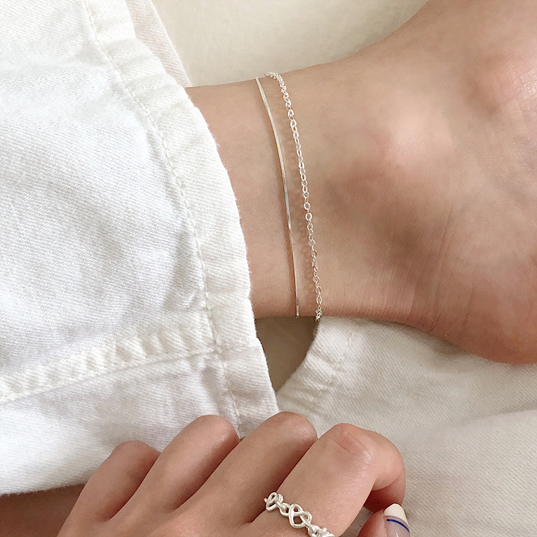 925silve silky&round chain 2 line anklet