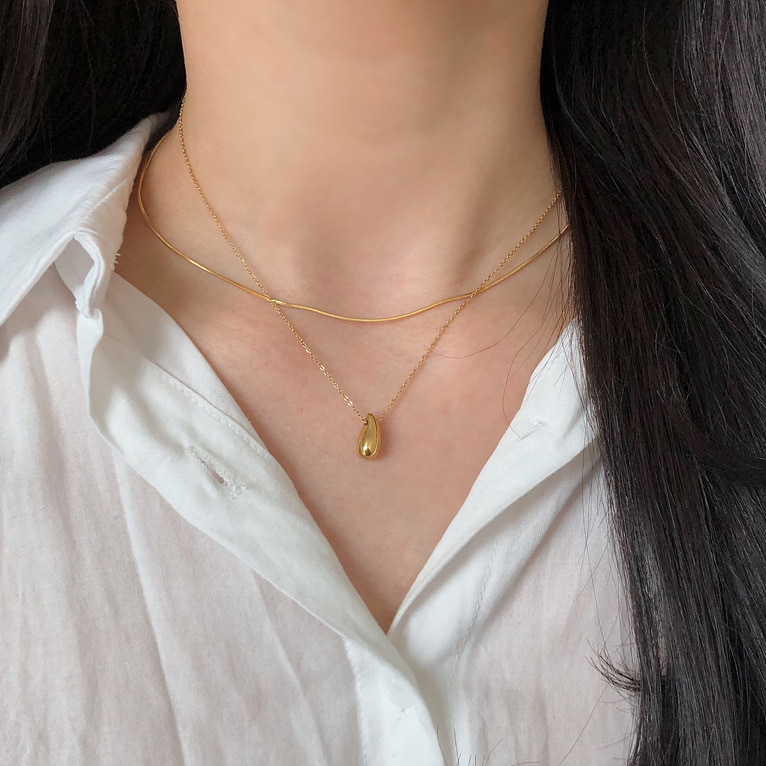 surgical steel water-drop necklace(2color)