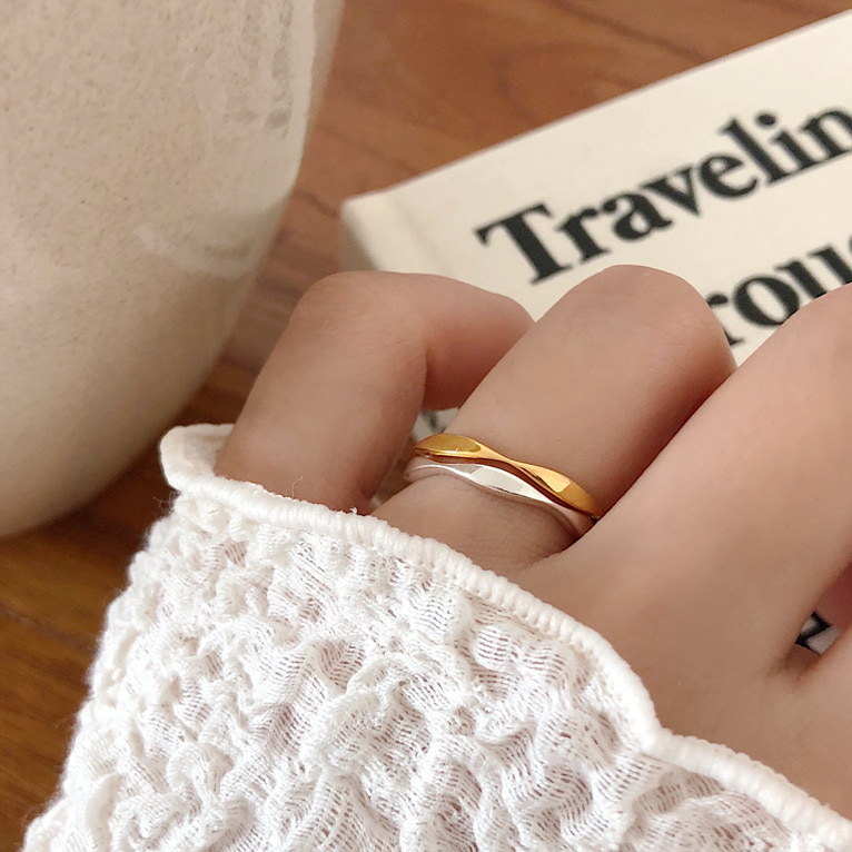 925silver thin volume ring(2color)