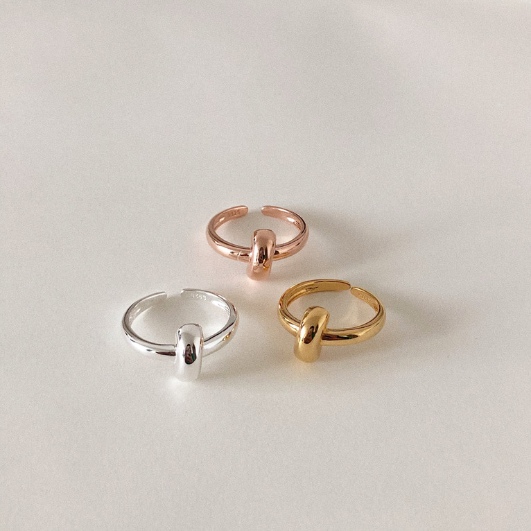 925silver point line open ring(3color)