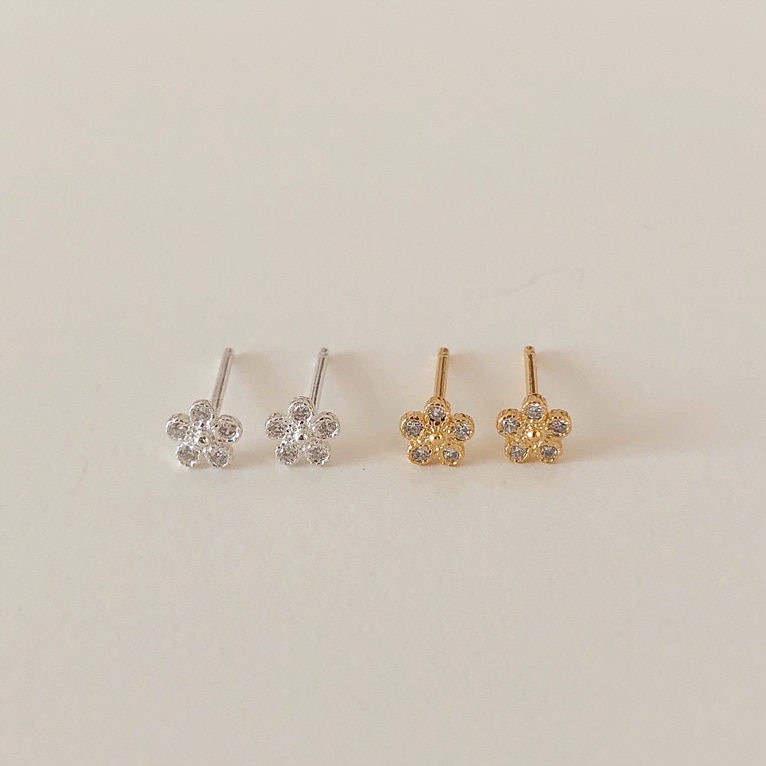 925silver 5 cubic flower earring(2color)