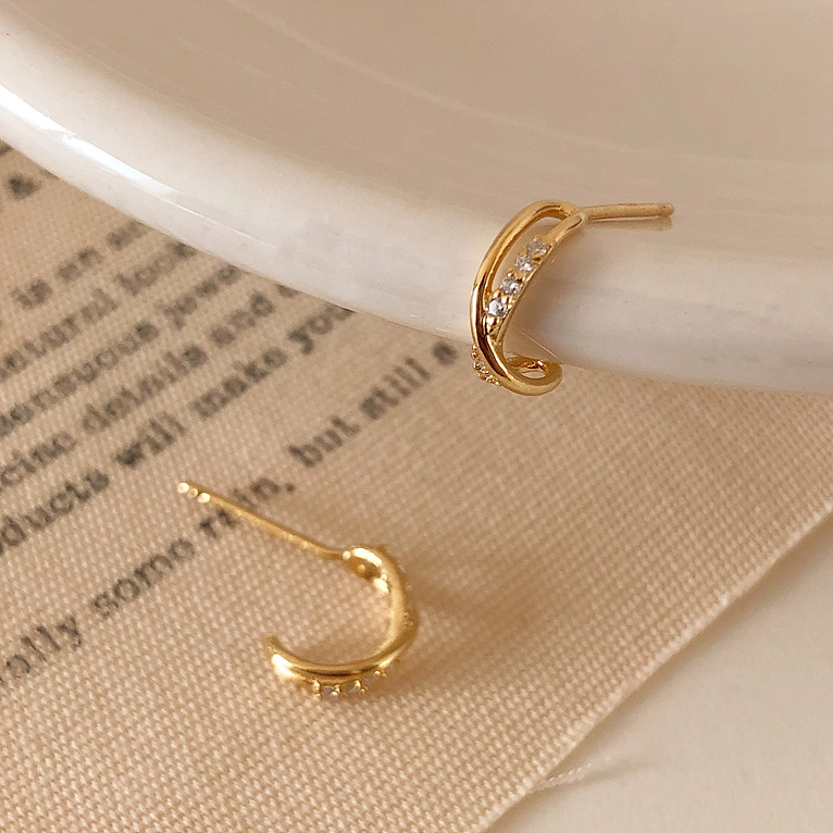 925silver x line cubic earring(2color)