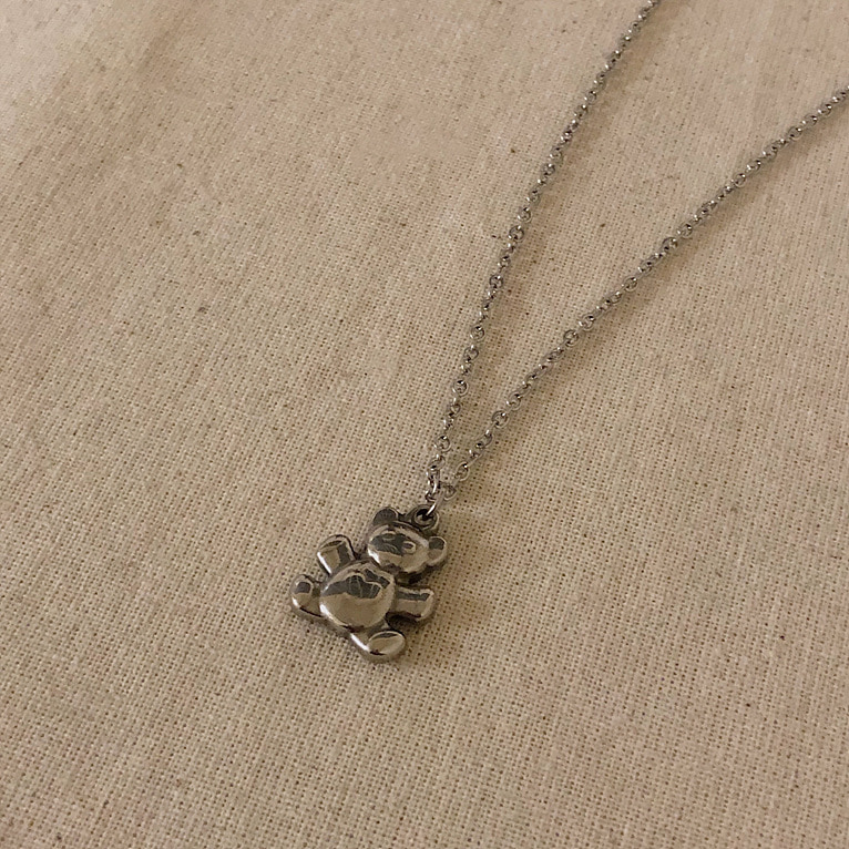 surgical steel bear necklace