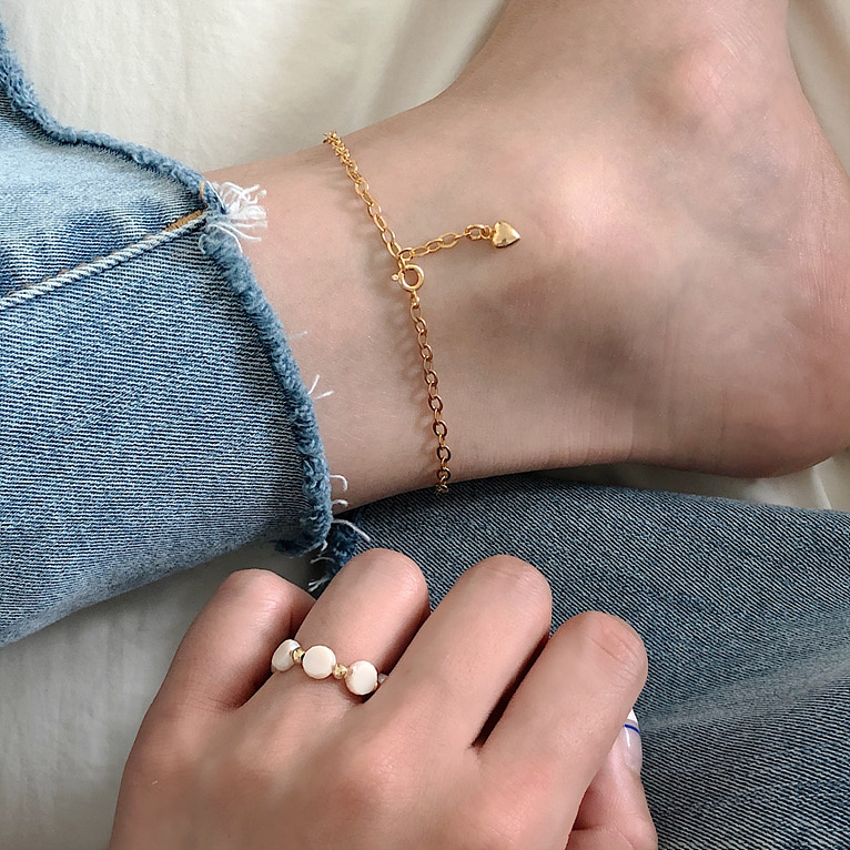 925silver round chain heart anklet