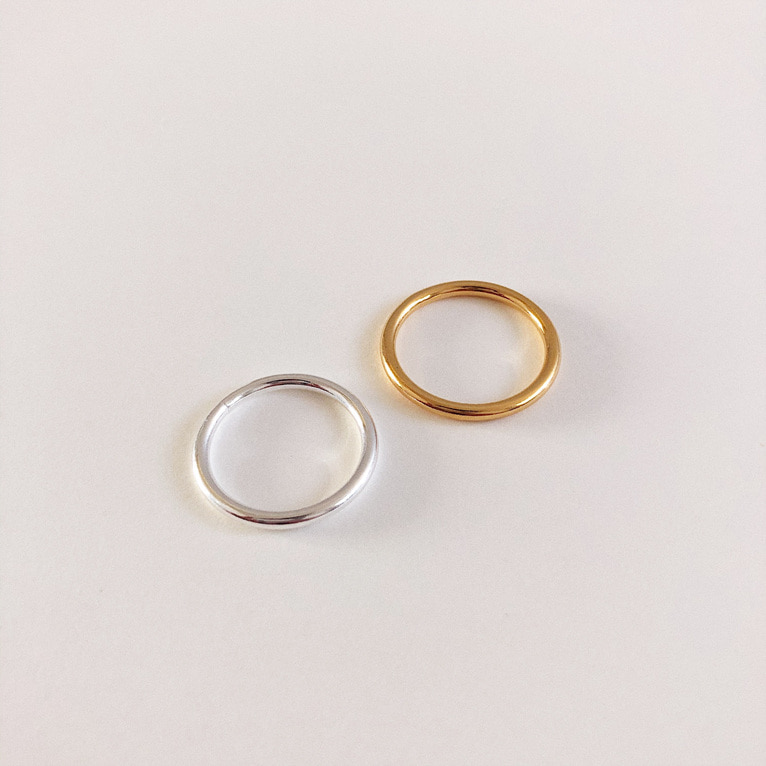 925silver 2mm round ring(2color)
