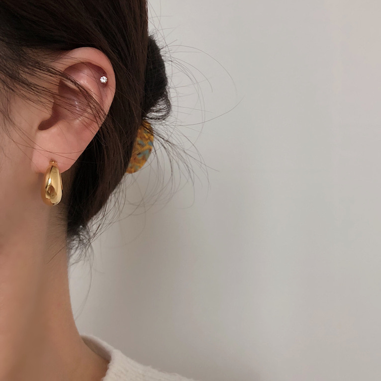 925silver round volume earring(2color)