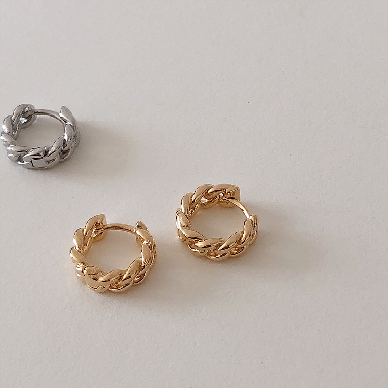 chain one-touch ring earring(2color)