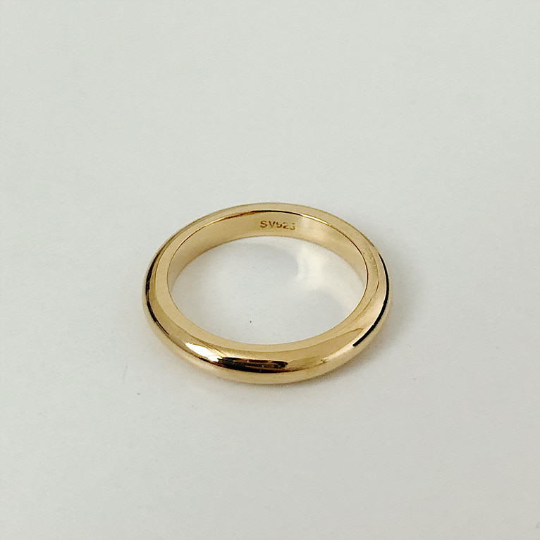 925silver 3mm round ring(2color)