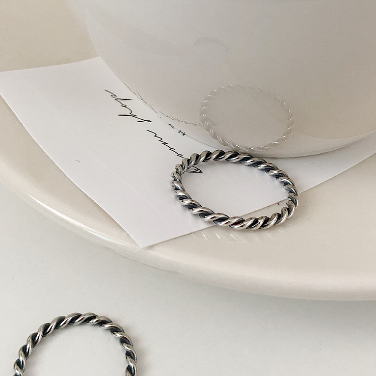 (3/5/7호 추가!) 925silver black 2.2mm twist ring