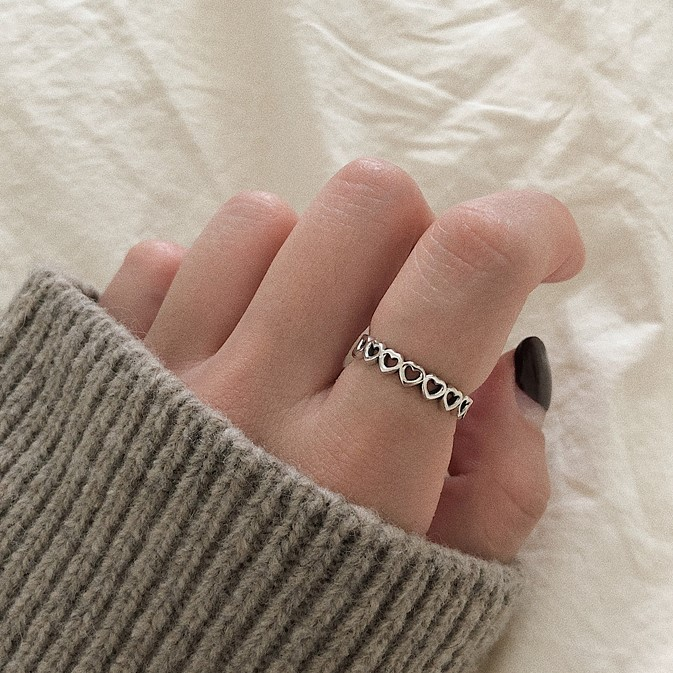 925silver baby heart ring(2color)