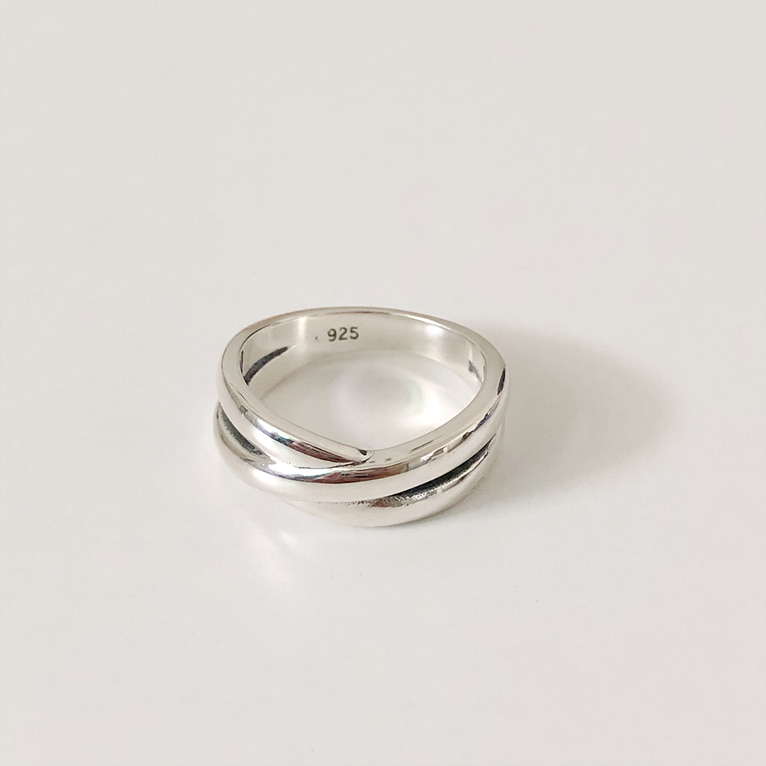 925silver X line ring