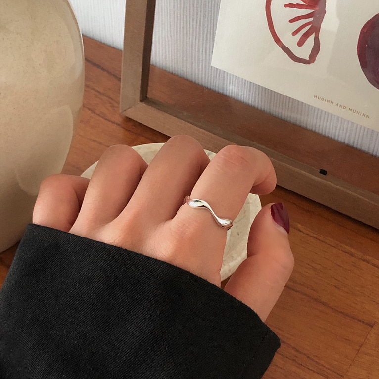 925silver wave thin open ring