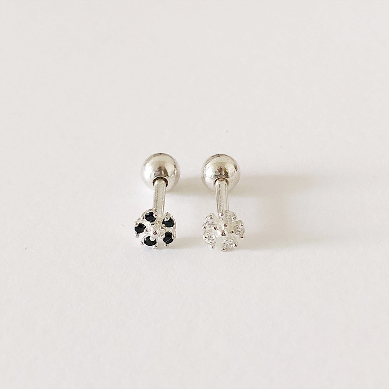 925silver flower cubic piercing(2color)
