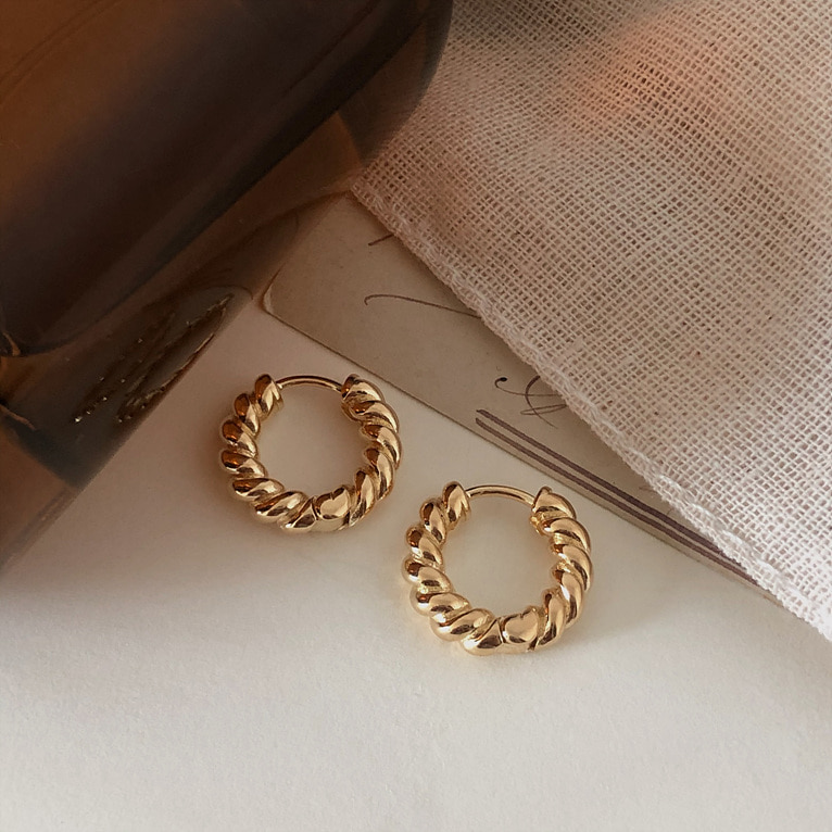 round twist one-touch ring earring(2color)