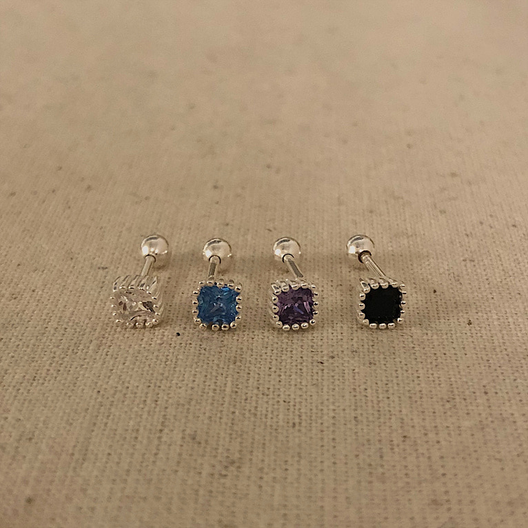 925silver square cubic piercing