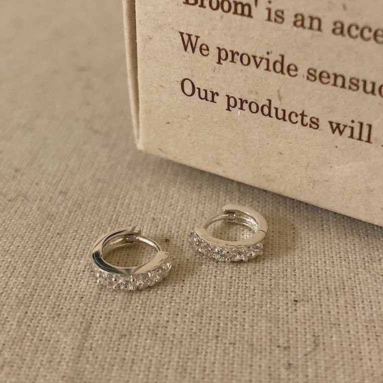 925silver mini crystal one-touch ring earring(2color)