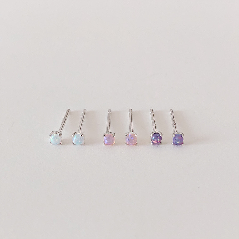 925silver mini opal cubic earring(3color)