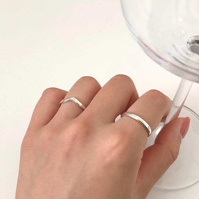 925silver curve cubic point ring