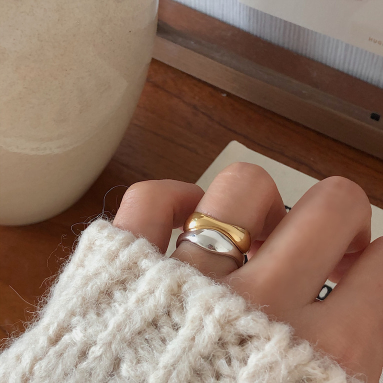 925silver bold wave ring(2color)