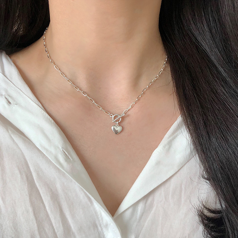 925silver heart toggle bar chain necklace(2color)
